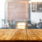 Wood Table In Blurry Background Of Modern Restaurant Room Or Coffee Shop With Empty Copy Space On The Table For Product Display Mockup Interior Restaurant Counter Design Concept Stock Photo Download