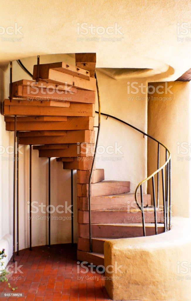 Wooden Spiral Staircase In Adobe Building Stock Photo Download   Wooden Spiral Stairs Design   Different Style   Circular   Curved   Space Saving   Easy Diy
