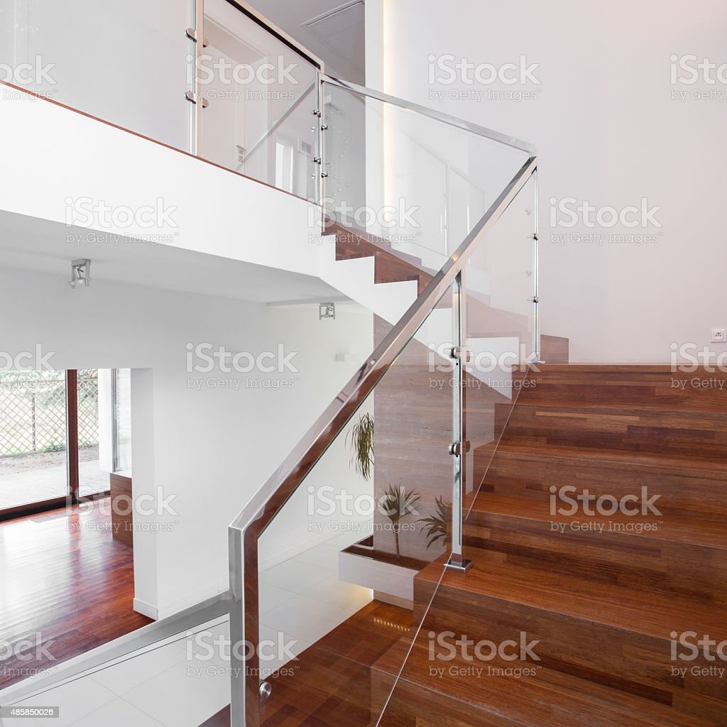 Wooden Stairs With Elegant Balustrade Stock Photo Download Image   Wooden Staircase With Glass   Oak   Glass Design Golden   Tempered Glass   Unusual Interior   Detail