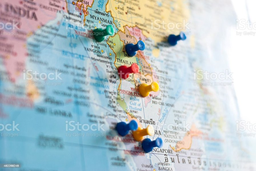 Royalty Free Southeast Asia Pictures  Images and Stock Photos   iStock World map with colorful pins stock photo