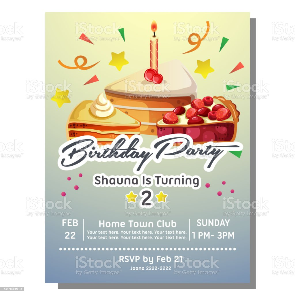https www istockphoto com vector 2nd birthday party invitation card with slice of cake gm937099610 256340427