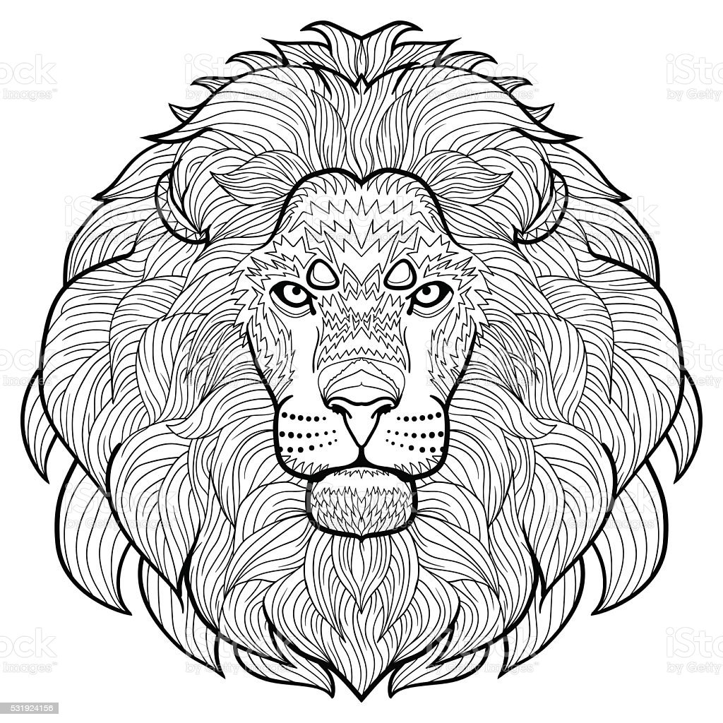 Animal Outline Antistress Coloring The Head Of Lion Stock