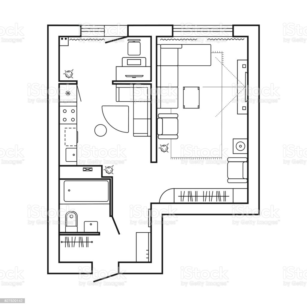 Architecture Plan With Furniture House Floor Plan Kitchen Lounge And Bathroom Thin Line Icons Set Interior Design Top View Vector Stock Illustration Download Image Now Istock
