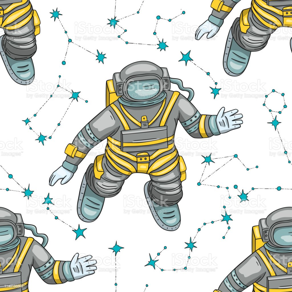 Best Hand Drawn Astronaut Floating In Outer Space