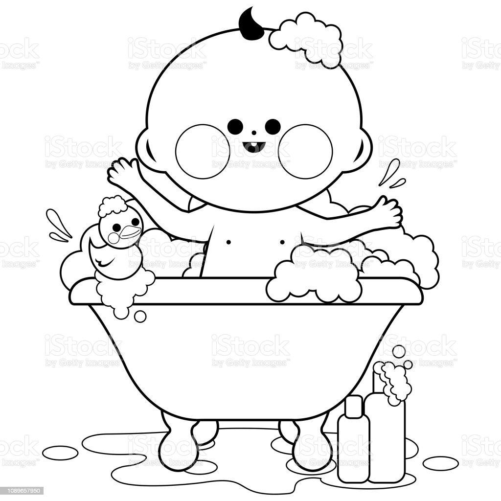 bebe de prendre un bain noir et blanc livre de coloriage vecteurs libres de droits et plus d images vectorielles de baignoire istock