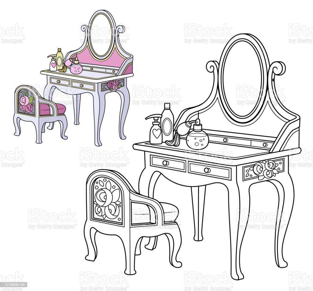 table baroque de habillage et petite chaise decrite et couleur pour le livre de coloriage vecteurs libres de droits et plus d images vectorielles de a la mode istock