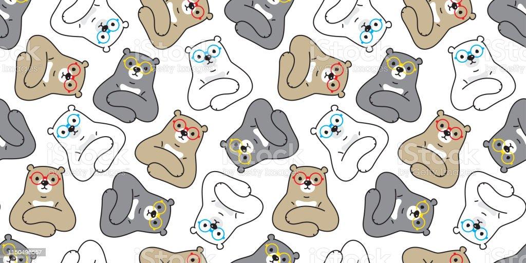 https www istockphoto com vector bear seamless pattern polar bear vector glasses cartoon scarf isolated tile gm1150498557 311459485