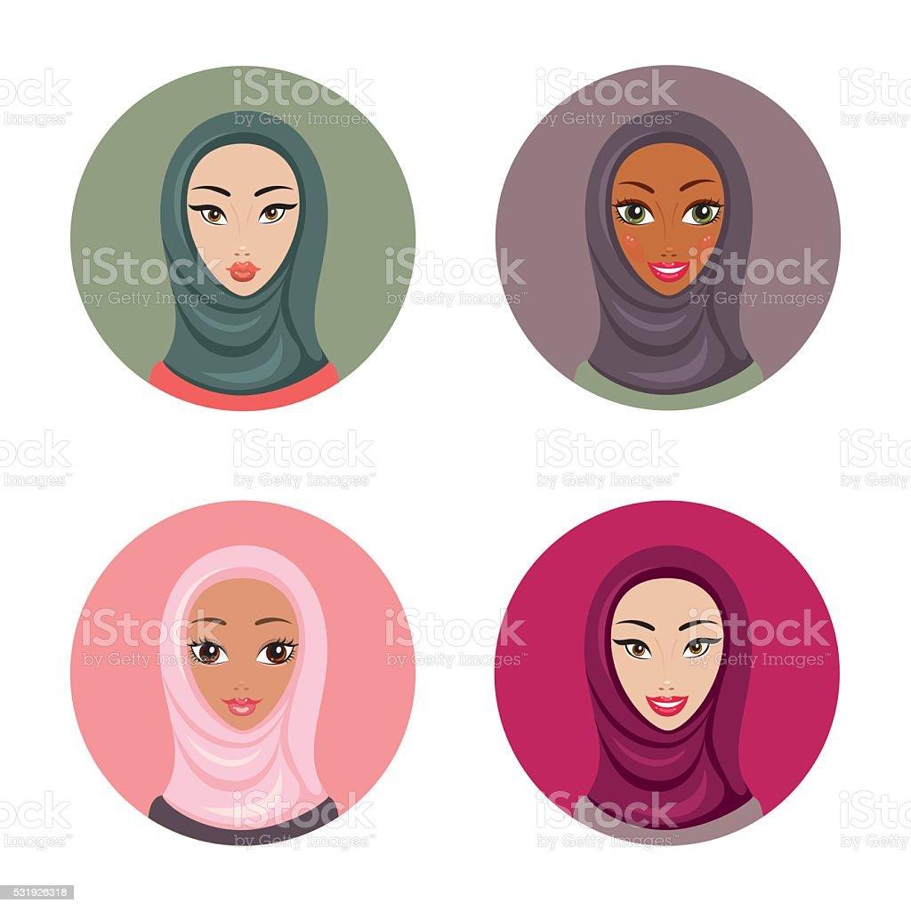 Hijab sport nero donna trail. Bellissima Giovane Donna Musulmana Icone Impostare Ragazza Ritratto In Hijab Immagini Vettoriali Stock E Altre Immagini Di Abbigliamento Istock