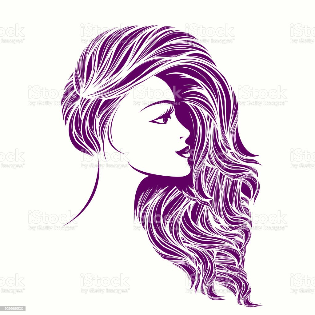 beauty and hair salon vector iconbeautiful woman with long curly hair and bold makeup stock illustration download image now istock