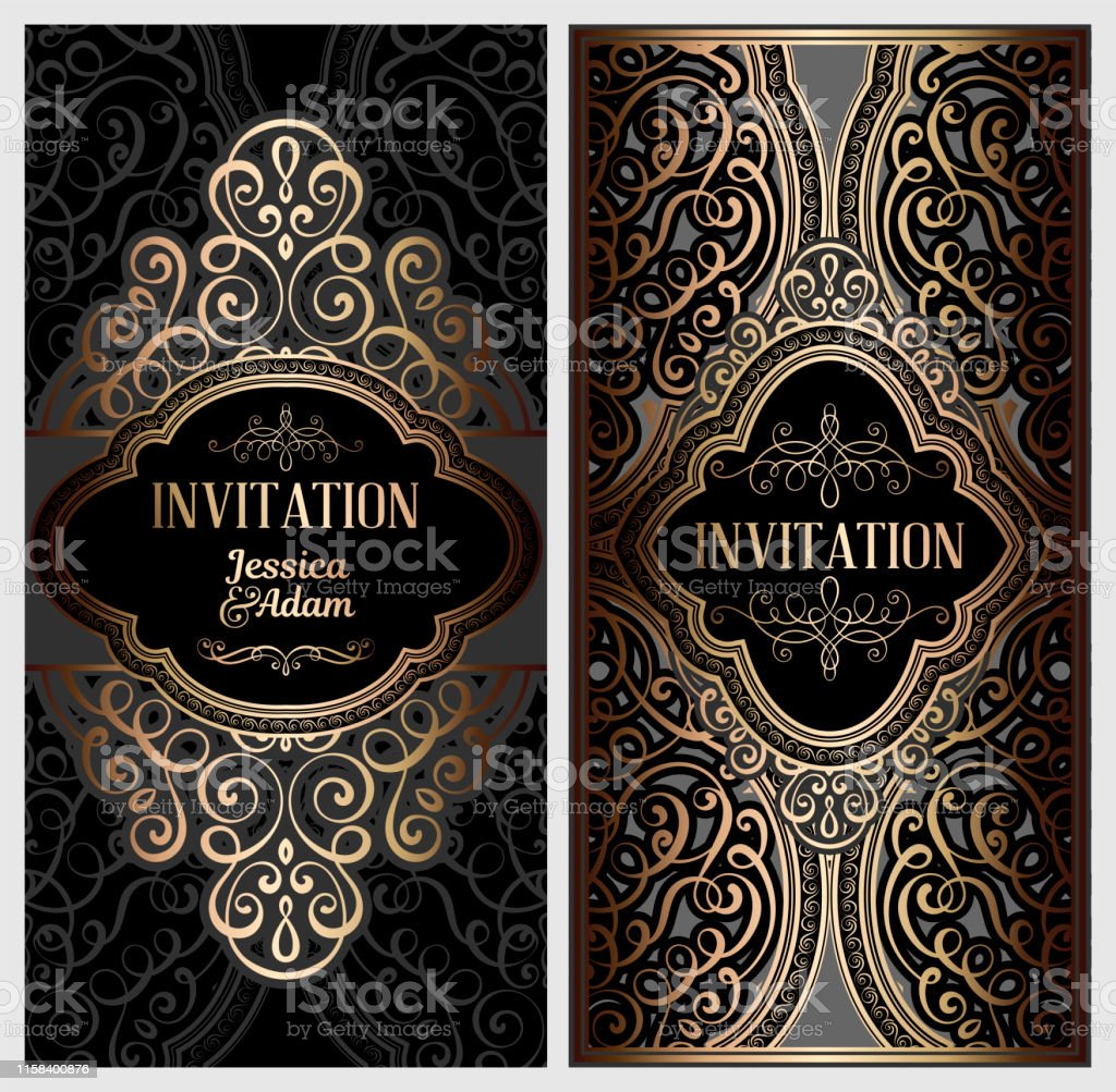 https www istockphoto com vector black and gold luxury wedding invitation card with golden shiny eastern and baroque gm1158400876 316418957