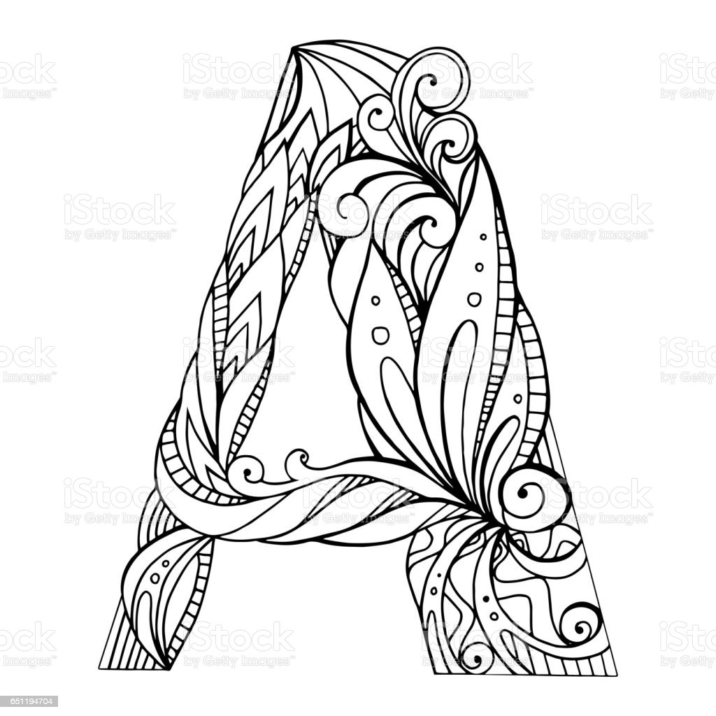 Black And White Freehand Drawing Capital Letter A With