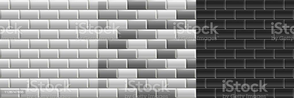 https www istockphoto com fr vectoriel noir et blanc des textures sans couture des carreaux de m c3 a9tro ensemble de mur de gm1126747855 296758235