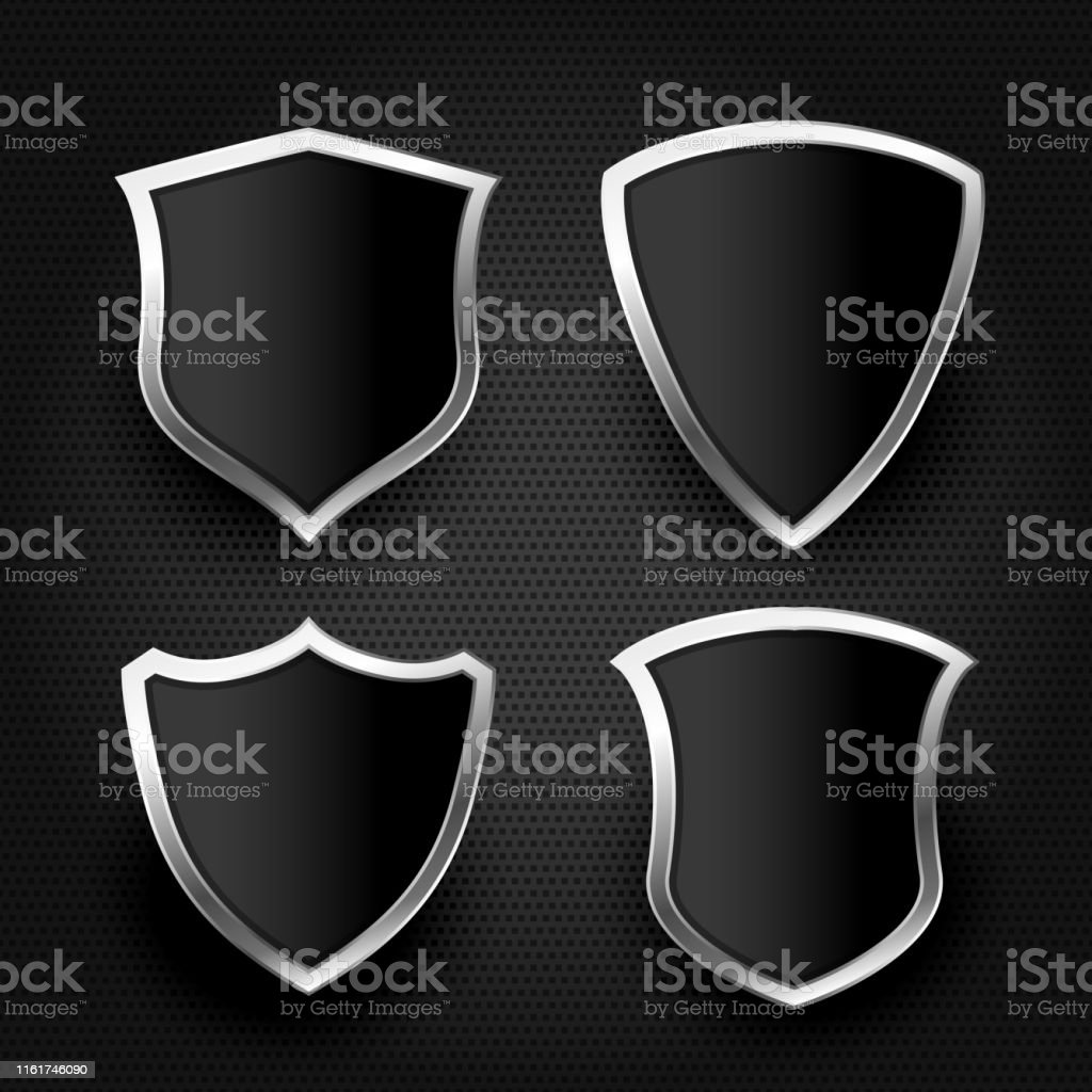https www istockphoto com vector black shield with silver frame set gm1161746090 318430013