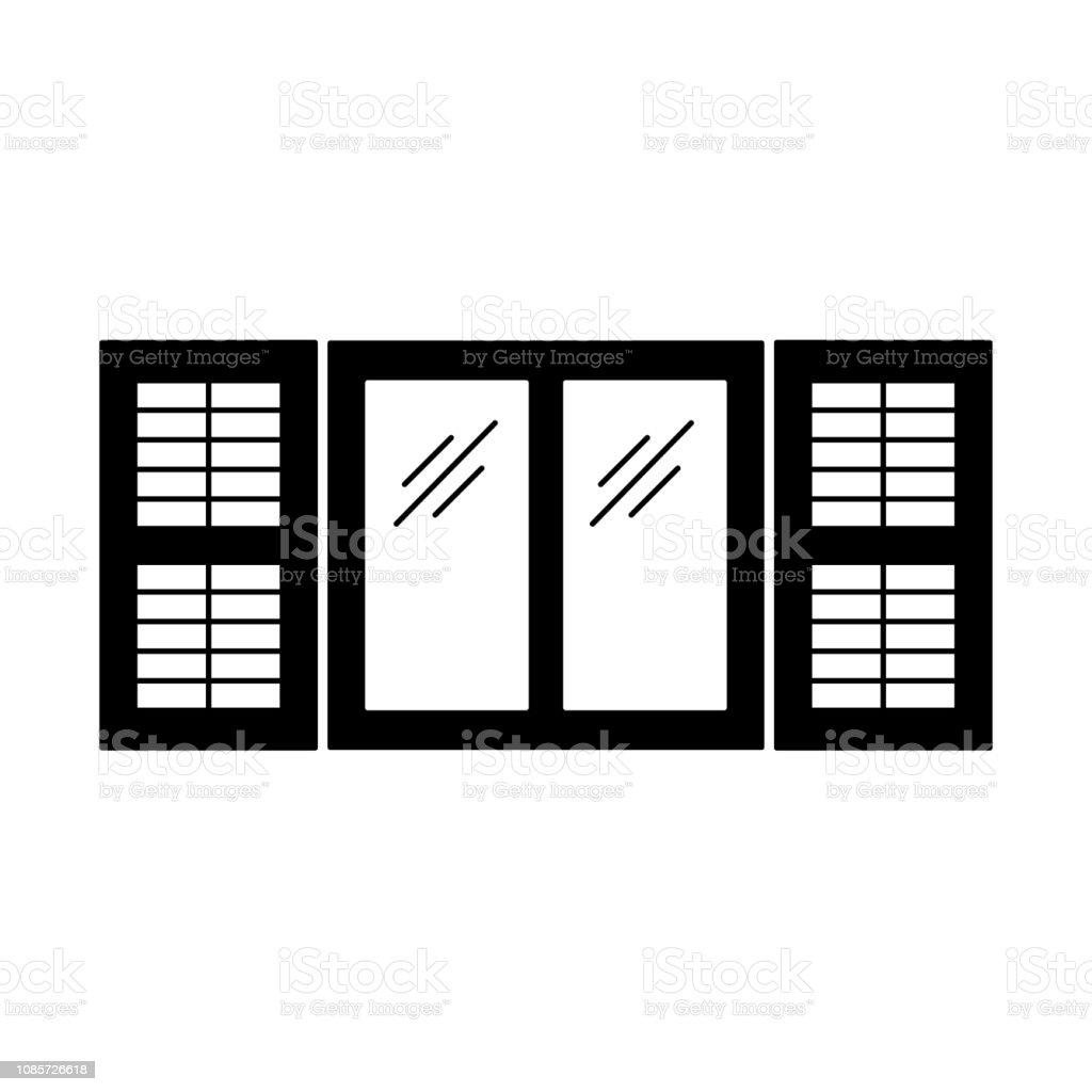 Black White Illustration Of Old Window Shutter Vector Flat