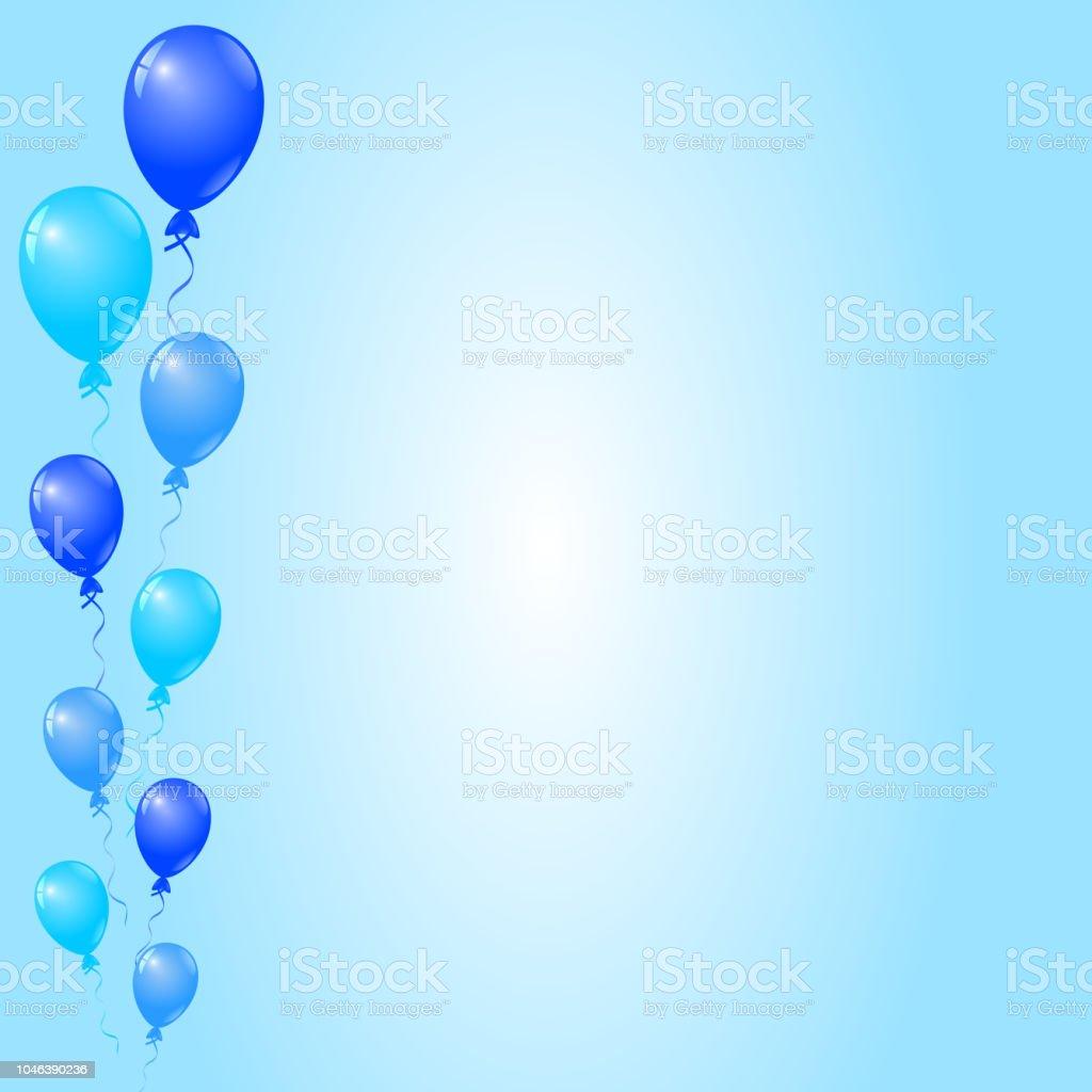 blaue ballons auf blauem grund geburtstag einladung karte banner stock vektor art und mehr bilder von ausverkauf istock