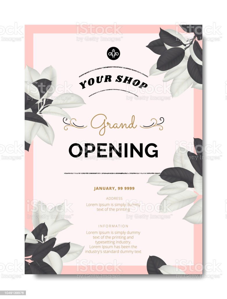 botanical grand opening invitation card template design black and white ficus elastica rubber plant on pink background vintage style stock illustration download image now istock