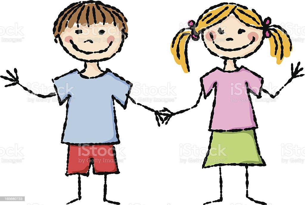 Boy And Girl Holding Hands Stock Vector Art & More Images