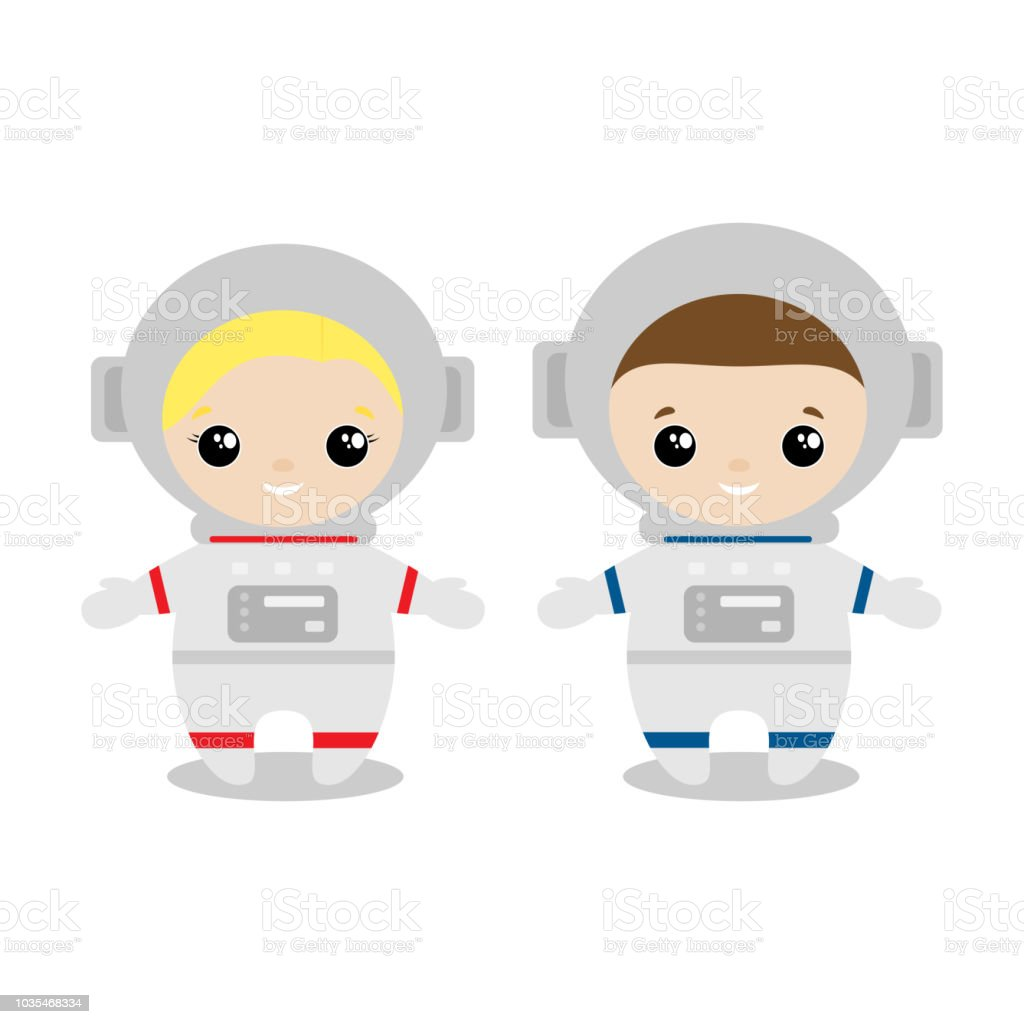 Boys And Girl Astronaut Cartoon Style Set Of Cute Cartoon ...