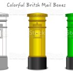 British London Colorful Postbox Mailbox Green Yellow Mail Box Design Black White Technic Draw Sketch And Colored Cylinder Mailbox England Uk Classic Culture Objects Futuristic Art Draw Vector Stock Illustration Download