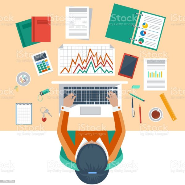 Business Woman Working With Laptop And Documents Stock ...