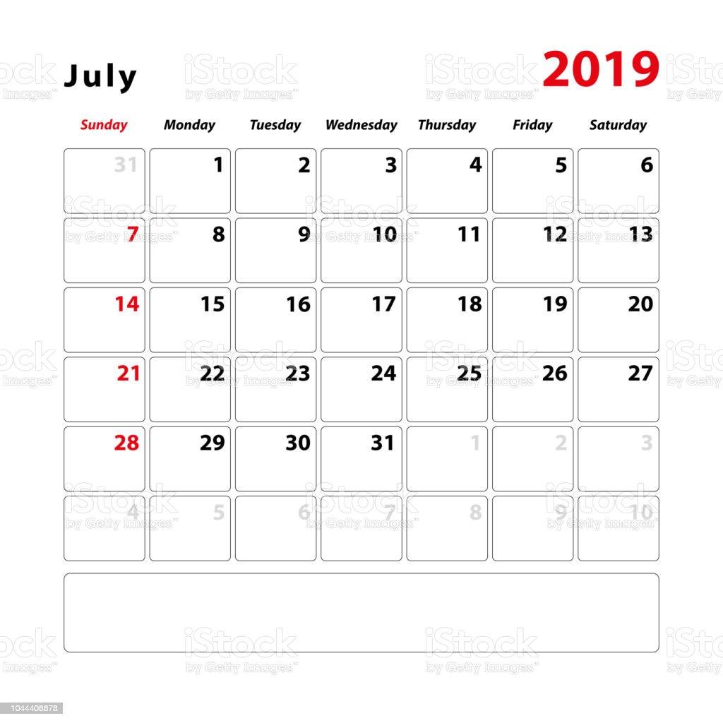 Feuille De Calendrier Pour Le Mois De Juillet 2019 Espace