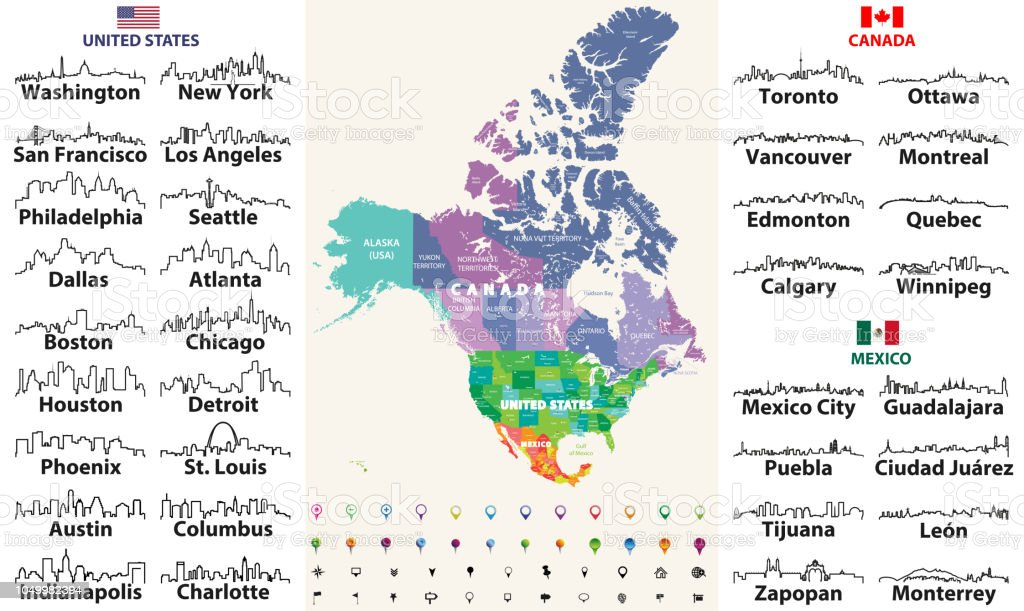 Canada United States And Mexico Detailed Map With States Names And Borders Flags And Largest Cities Skylines Outline Icons Of United States Canada And Mexico Stock Illustration Download Image Now Istock