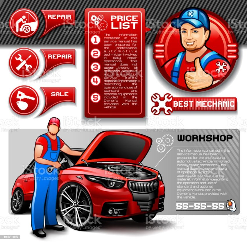 Car Repair Infographics Stock Vector Art More Images Of Adjustable Wrench 183012800 Istock