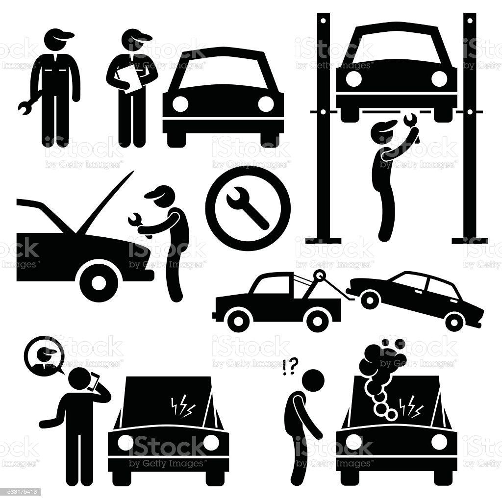 Car Repair Services Workshop Mechanic Stick Figure