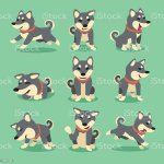 Cartoon Character Black Shiba Inu Dog Poses Stock Illustration Download Image Now Istock