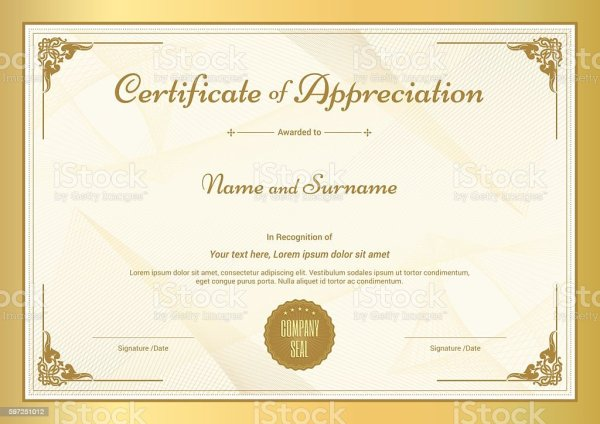 Certificate Of Appreciation Template With Vintage Gold ...