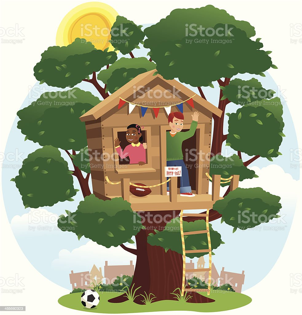 Children Playing In A Treehouse Stock Illustration Download Image Now Istock