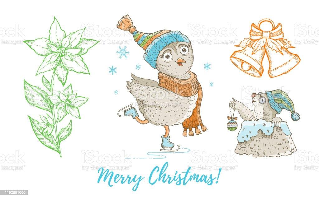 https www istockphoto com fr vectoriel oiseau de hibou de griffonnage de noel taupe cloche de jingle ensemble de gm1192891606 339092916