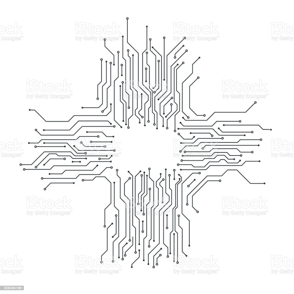 Circuit board background card thin line graphic design vector stock