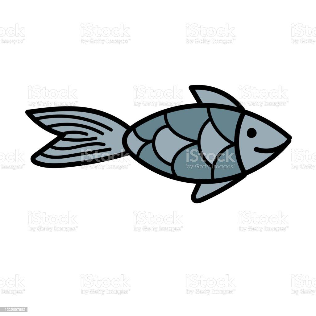 element vecteur de couleur dessin noir et blanc dun habitant marin mignon petit poisson vecteurs libres de droits et plus d images vectorielles de aquarium etablissement pour animaux en captivite istock