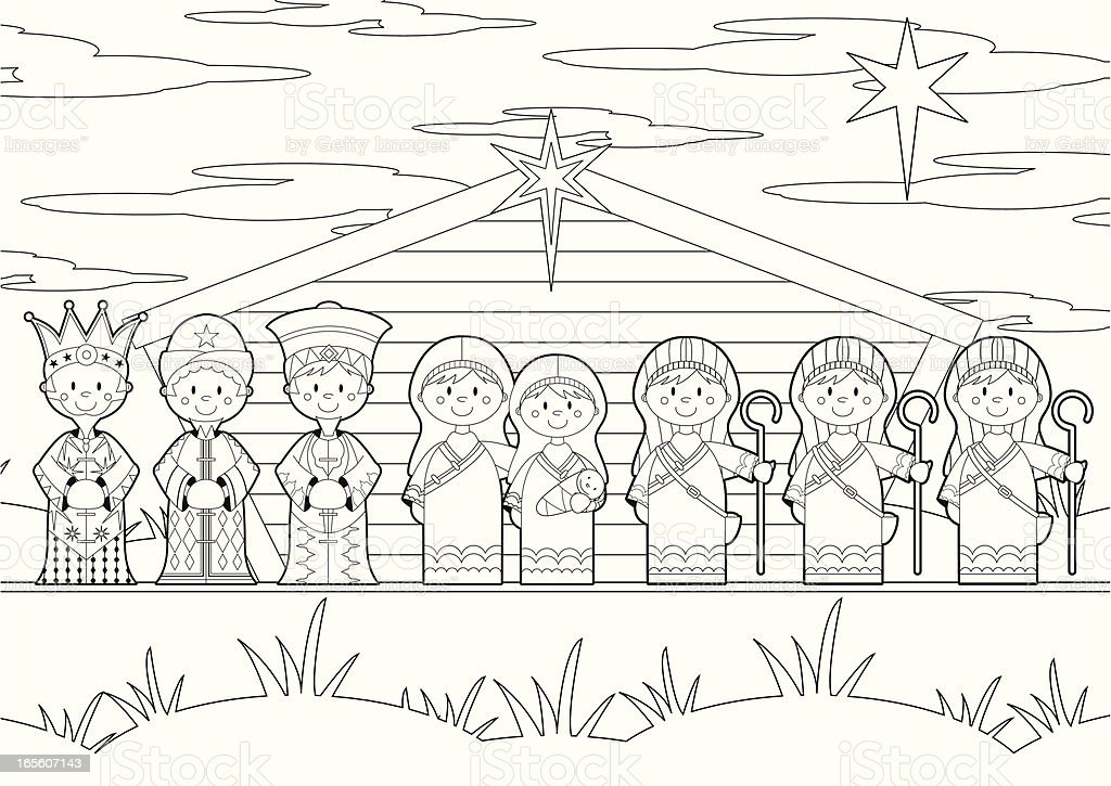 Colour In Nativity Barn Scene Stock Vector Art Amp More