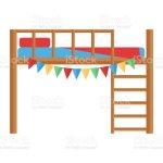 Comfortable Bunk Bed Cozy Baby Room Decor Children Bedroom Interior Furniture Vector Stock Illustration Download Image Now Istock