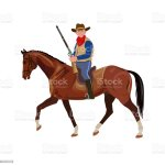 Cowboy Riding Horse Stock Illustration Download Image Now Istock