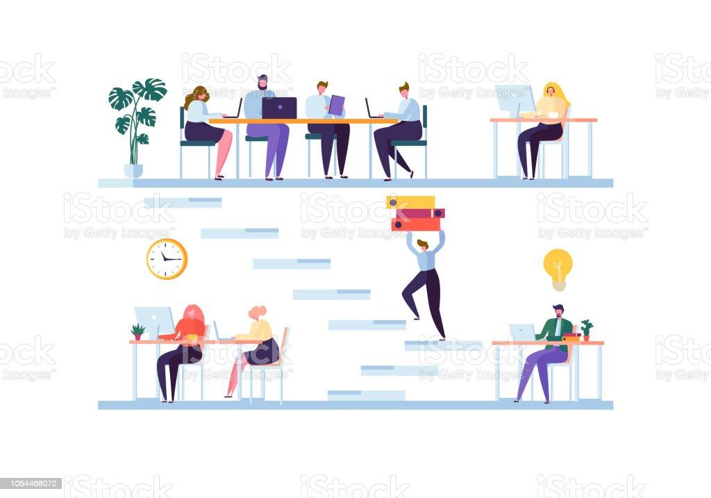 Concept Despace De Coworking Personnages De Collgues De