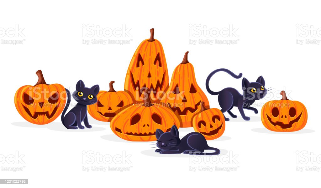 Scary halloween pumpkin head jack lantern at yellow hat made from plasticine on white background. Cute Adorable Black Cats Playing With Spooky Scary Halloween Pumpkins Cartoon Animal Design Flat Vector Illustration On White Background Stock Illustration Download Image Now Istock