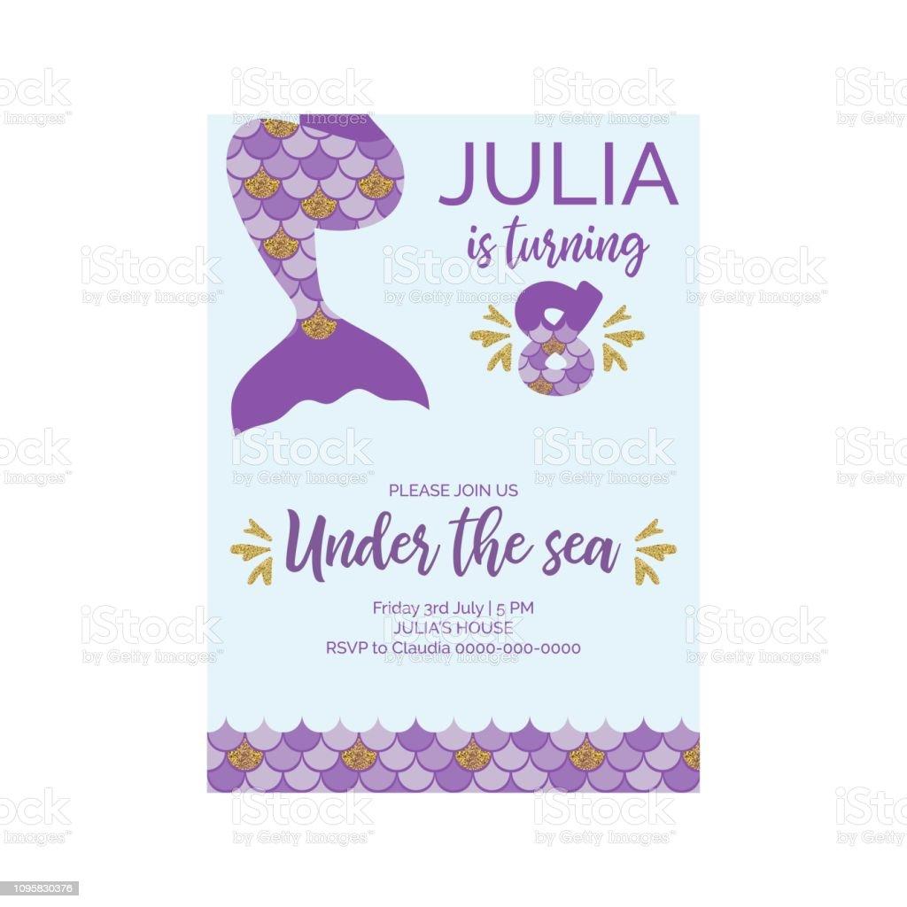 https www istockphoto com vector cute birthday invitation for little mermaid birthday party mermaid eighth birthday gm1095830376 294187481