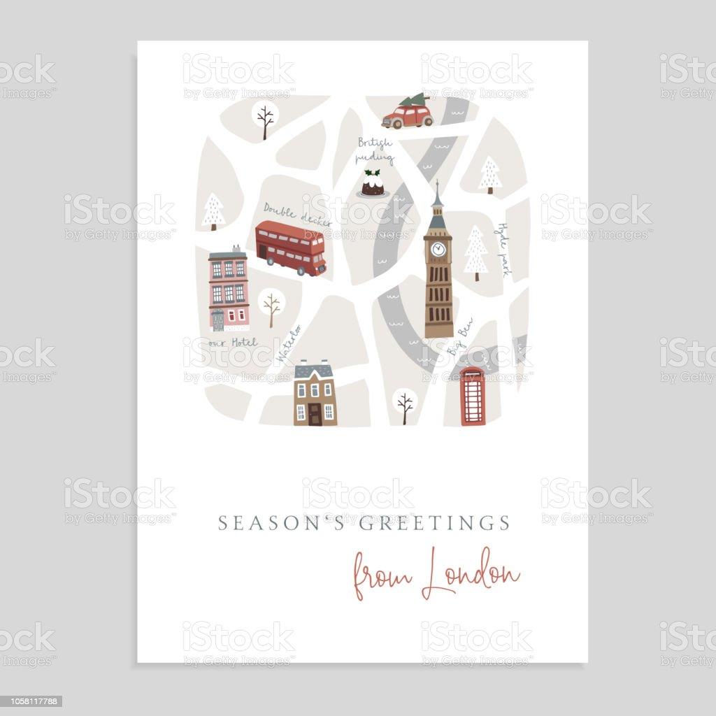 https www istockphoto com fr vectoriel jolie carte de voeux no c3 abl invitation avec la carte de londres main a attir c3 a9 rues gm1058117788 282786834