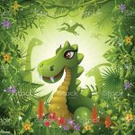 Cute Dinosaur In The Jungle Stock Illustration Download Image Now Istock