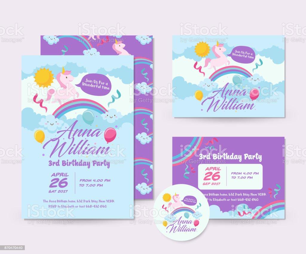 cute unicorn theme happy birthday invitation card set and flyer illustration template stock illustration download image now istock