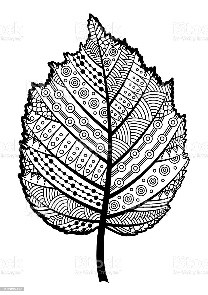 Decorative Black And White Leaf Of The Tree Hazel Stock