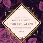 Deep Purple Marble Background With Roses And Gold Deco Geometric Frames Stock Illustration Download Image Now Istock