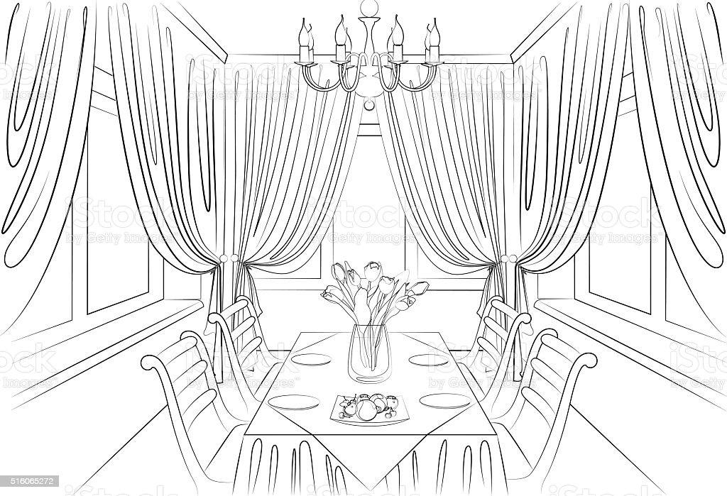 https www istockphoto com fr vectoriel dessin crayon de la salle c3 a0 manger int c3 a9rieur gm516065272 88809187