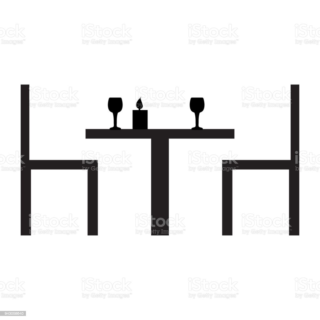 https www istockphoto com fr vectoriel d c3 aener pour deux silhouettes noires dune table des chaises des verres et une gm943058640 257703560