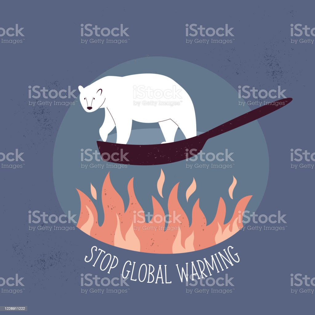 eco poster stop global warming with polar bear suffering from temperature rising vector illustration stock illustration download image now istock