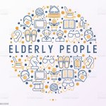 Elderly People Concept In Circle With Thin Line Icons