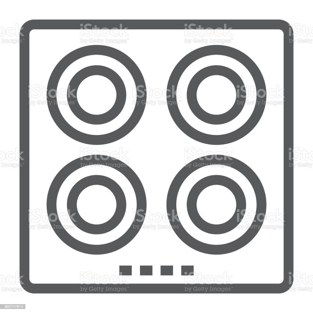 plaque chauffante electrique ligne icone de cuisine et de table de cuisson menage signe vecteur graphique un dessin lineaire sur un fond blanc eps 10 vecteurs libres de droits et plus d images
